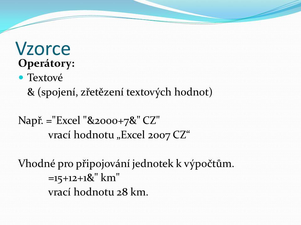 Vzorce Operátory: Textové & (spojení, zřetězení textových hodnot) Např.