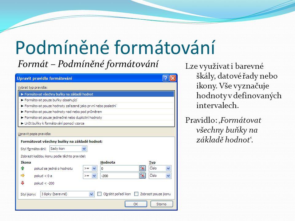 Podmíněné formátování Formát – Podmíněné formátování Lze využívat i barevné škály, datové řady nebo ikony.