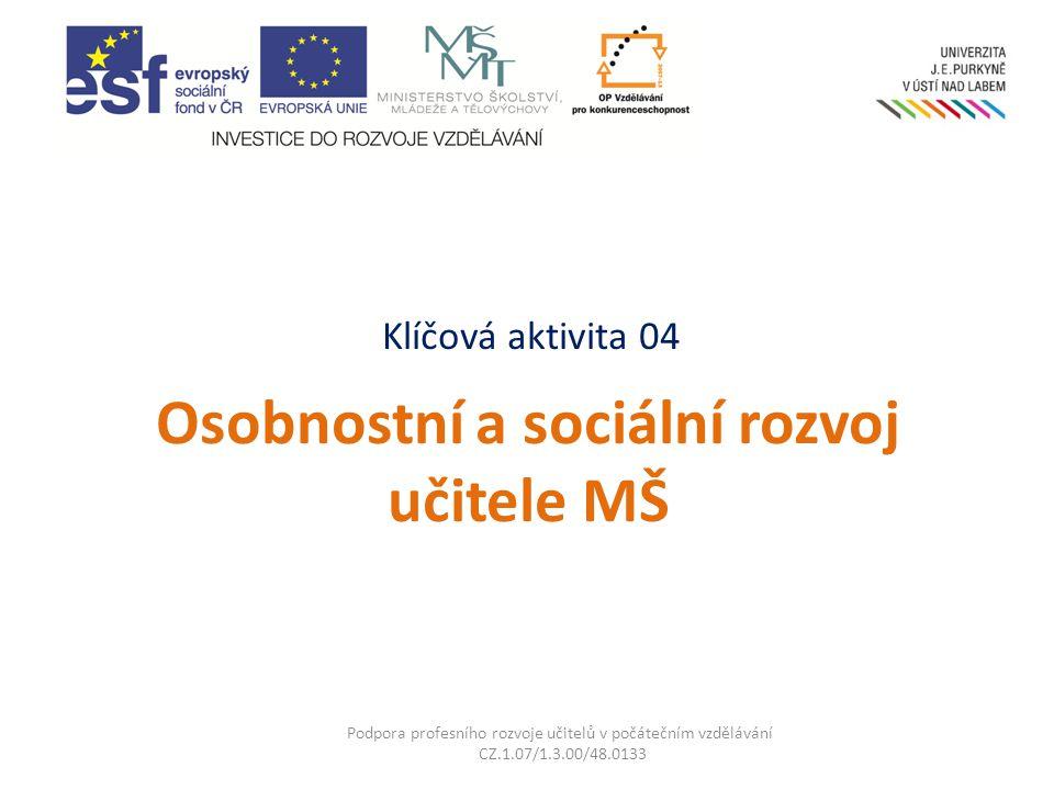Klíčová aktivita 04 Osobnostní a sociální rozvoj učitele MŠ Podpora profesního rozvoje učitelů v počátečním vzdělávání CZ.1.07/1.3.00/48.0133