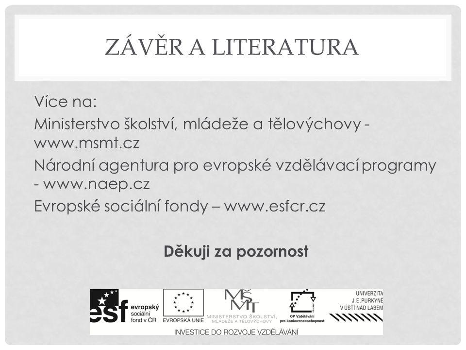 ZÁVĚR A LITERATURA Více na: Ministerstvo školství, mládeže a tělovýchovy - www.msmt.cz Národní agentura pro evropské vzdělávací programy - www.naep.cz