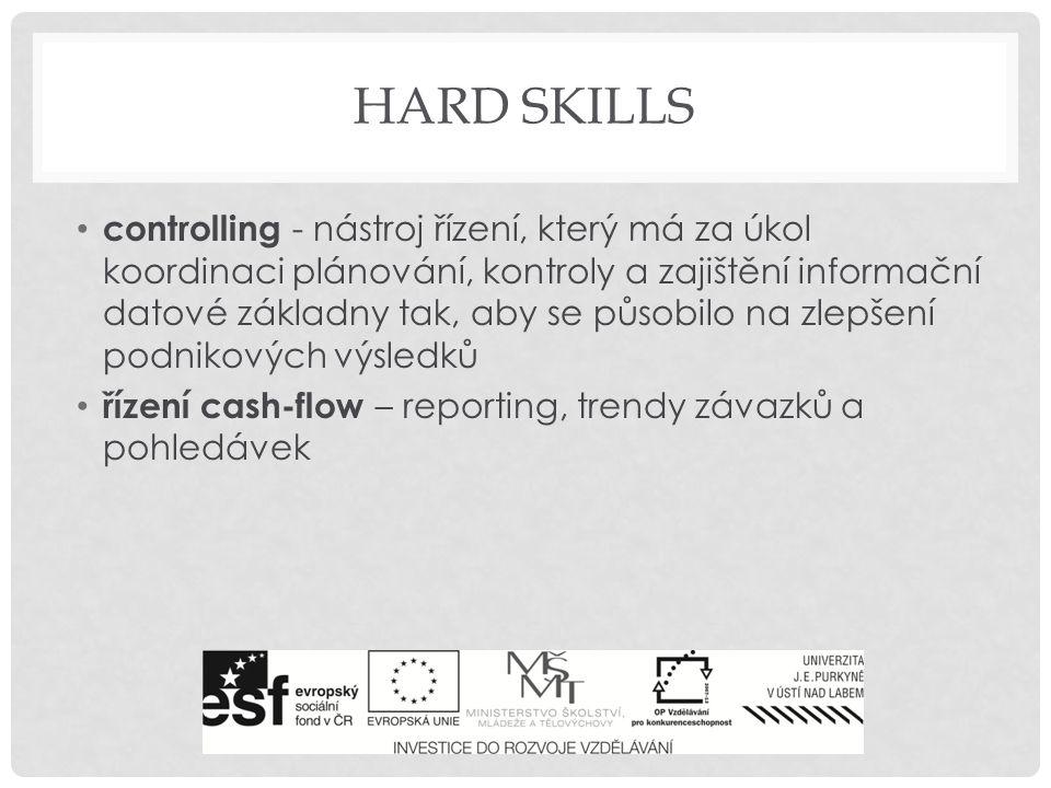 HARD SKILLS controlling - nástroj řízení, který má za úkol koordinaci plánování, kontroly a zajištění informační datové základny tak, aby se působilo