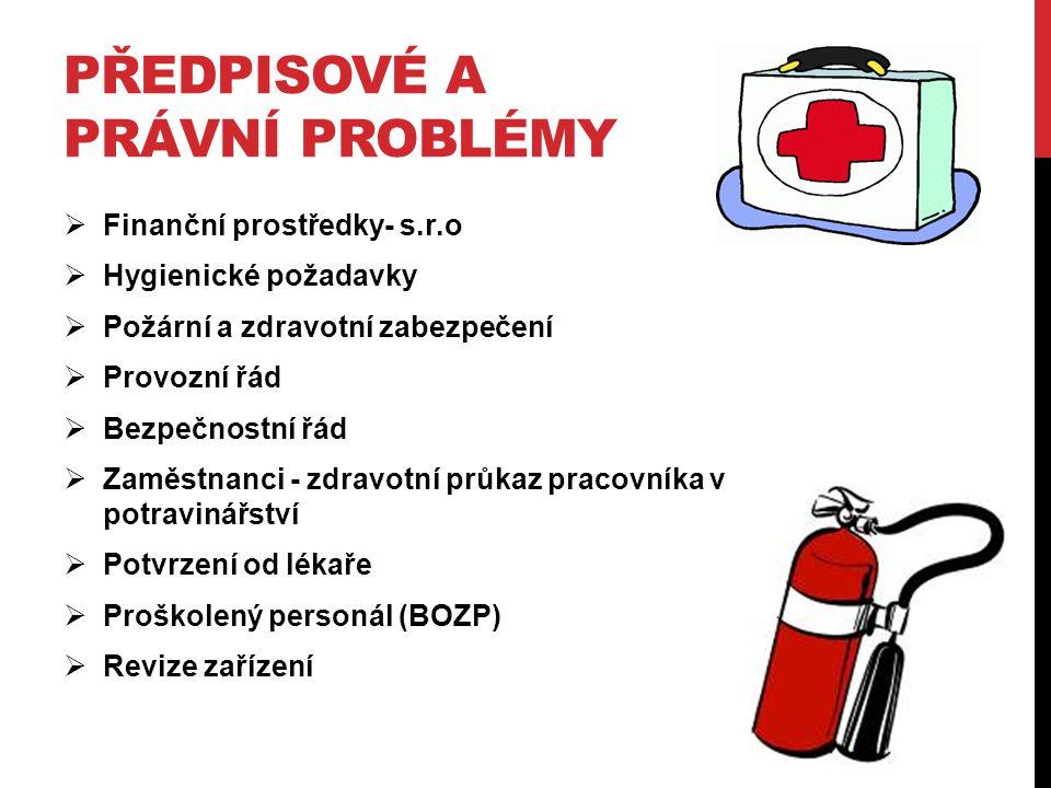 PŘEDPISOVÉ A PRÁVNÍ PROBLÉMY  Finanční prostředky- s.r.o  Hygienické požadavky  Požární a zdravotní zabezpečení  Provozní řád  Bezpečnostní řád  Zaměstnanci - zdravotní průkaz pracovníka v potravinářství  Potvrzení od lékaře  Proškolený personál (BOZP)  Revize zařízení