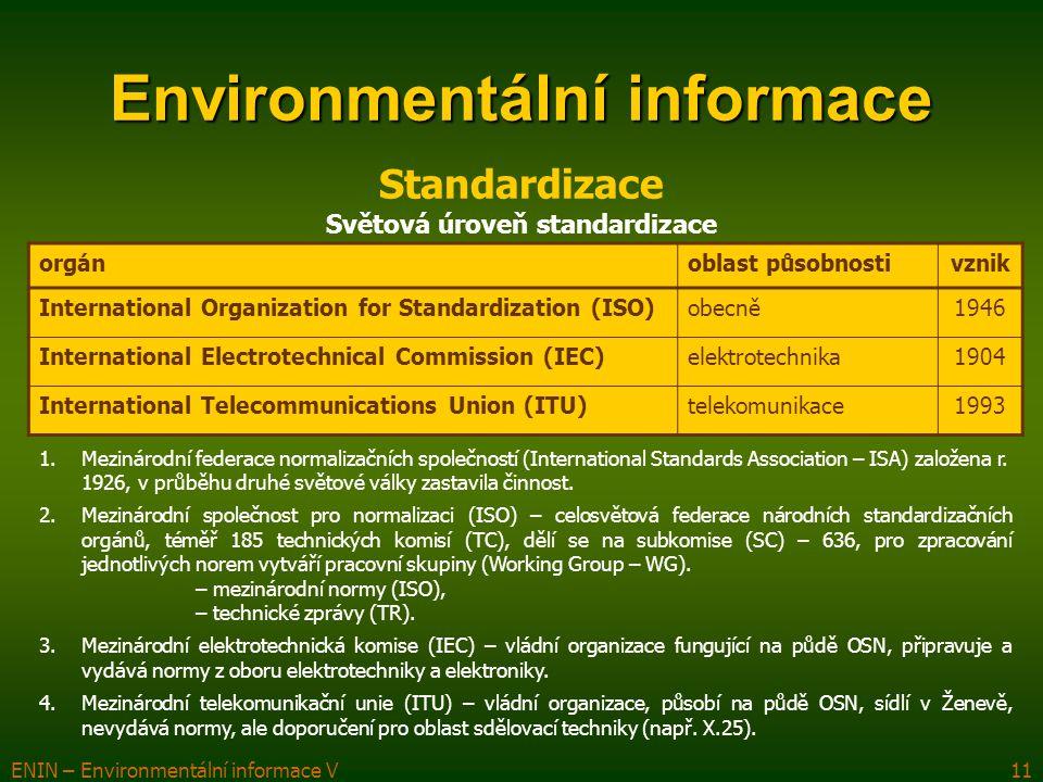 ENIN – Environmentální informace V11 Environmentální informace orgánoblast působnostivznik International Organization for Standardization (ISO)obecně1