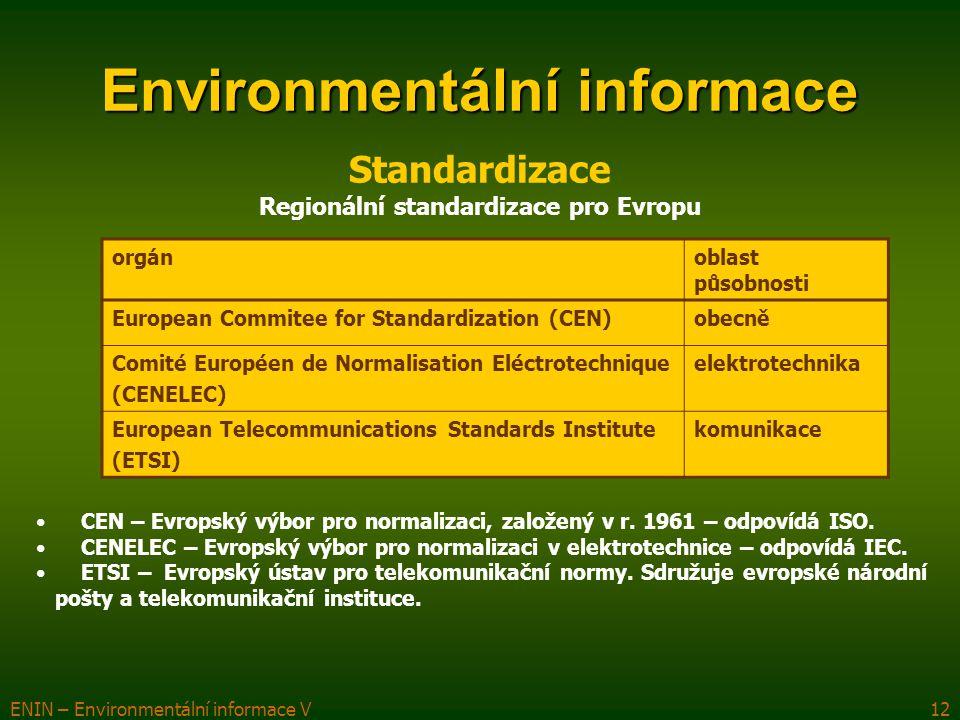 ENIN – Environmentální informace V12 Environmentální informace orgánoblast působnosti European Commitee for Standardization (CEN)obecně Comité Européen de Normalisation Eléctrotechnique (CENELEC) elektrotechnika European Telecommunications Standards Institute (ETSI) komunikace Standardizace CEN – Evropský výbor pro normalizaci, založený v r.