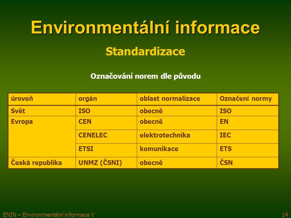 ENIN – Environmentální informace V14 Environmentální informace úroveňorgánoblast normalizaceOznačení normy SvětISOobecněISO EvropaCENobecněEN CENELECe