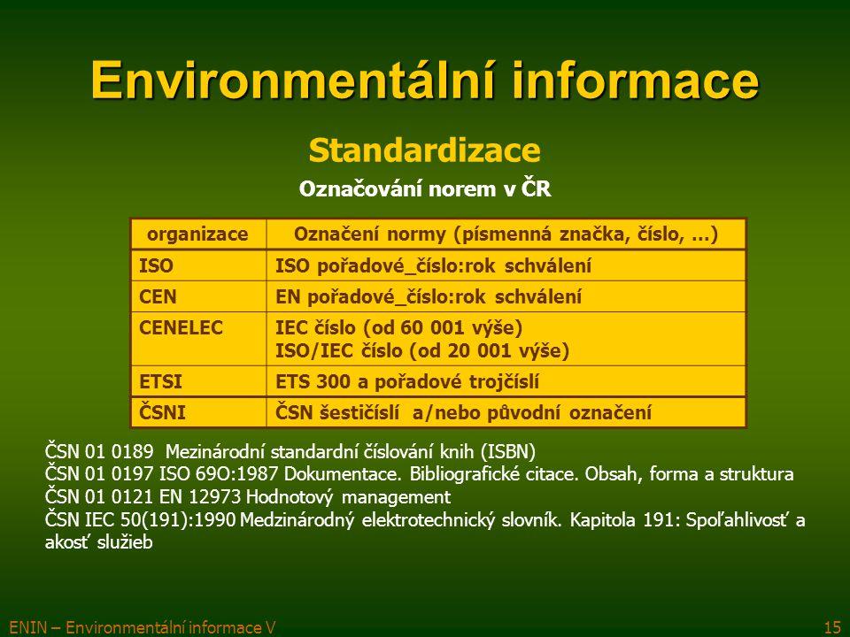 ENIN – Environmentální informace V15 Environmentální informace Standardizace organizaceOznačení normy (písmenná značka, číslo,...) ISOISO pořadové_číslo:rok schválení CENEN pořadové_číslo:rok schválení CENELECIEC číslo (od 60 001 výše) ISO/IEC číslo (od 20 001 výše) ETSIETS 300 a pořadové trojčíslí ČSNIČSN šestičíslí a/nebo původní označení ČSN 01 0189 Mezinárodní standardní číslování knih (ISBN) ČSN 01 0197 ISO 69O:1987 Dokumentace.