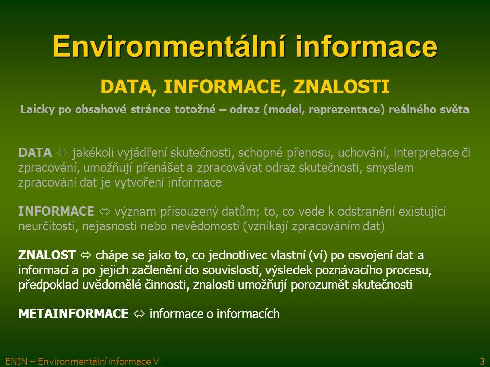 ENIN – Environmentální informace V3 Environmentální informace DATA, INFORMACE, ZNALOSTI Laicky po obsahové stránce totožné – odraz (model, reprezentac
