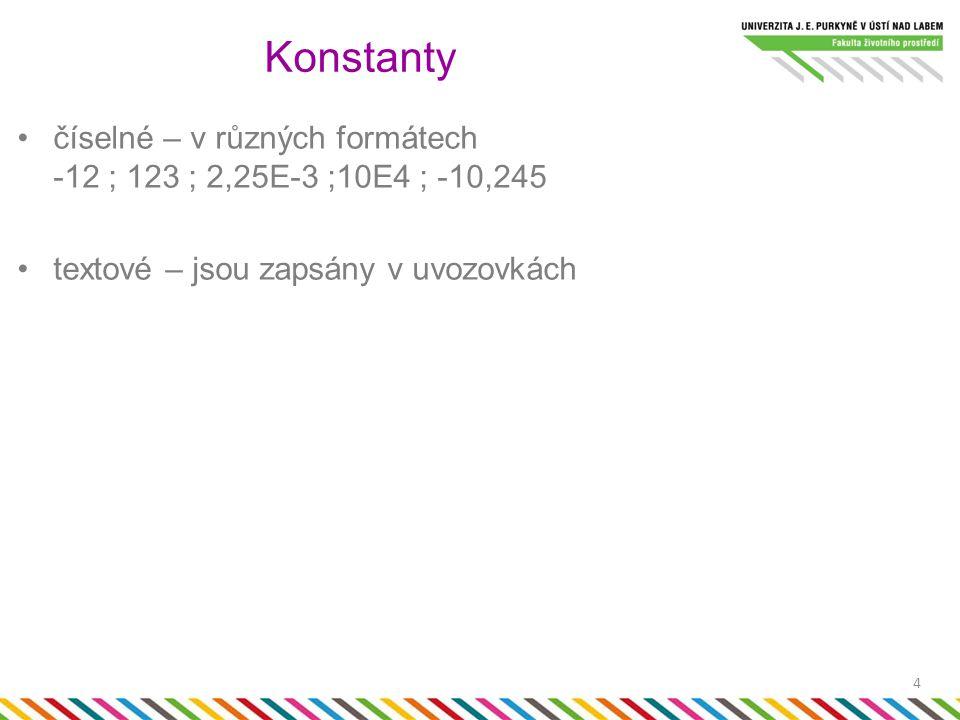číselné – v různých formátech -12 ; 123 ; 2,25E-3 ;10E4 ; -10,245 textové – jsou zapsány v uvozovkách Konstanty 4