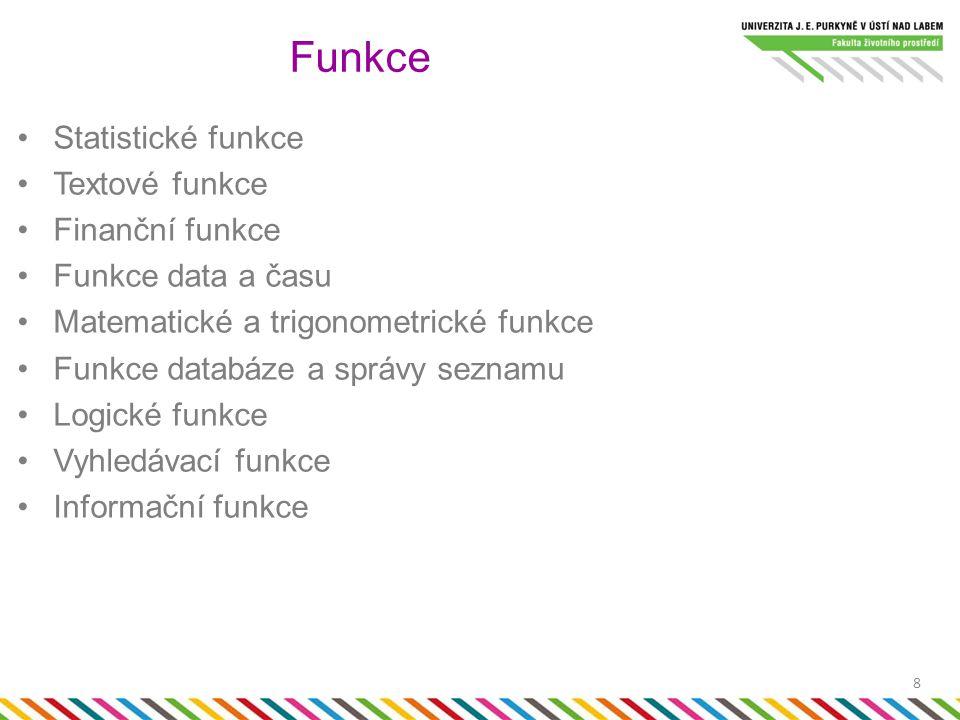 Statistické funkce Textové funkce Finanční funkce Funkce data a času Matematické a trigonometrické funkce Funkce databáze a správy seznamu Logické funkce Vyhledávací funkce Informační funkce Funkce 8