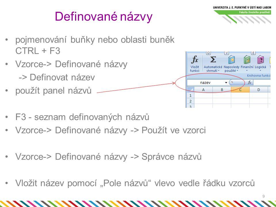 """pojmenování buňky nebo oblasti buněk CTRL + F3 Vzorce-> Definované názvy -> Definovat název použít panel názvů F3 - seznam definovaných názvů Vzorce-> Definované názvy -> Použít ve vzorci Vzorce-> Definované názvy -> Správce názvů Vložit název pomocí """"Pole názvů vlevo vedle řádku vzorců Definované názvy 9"""