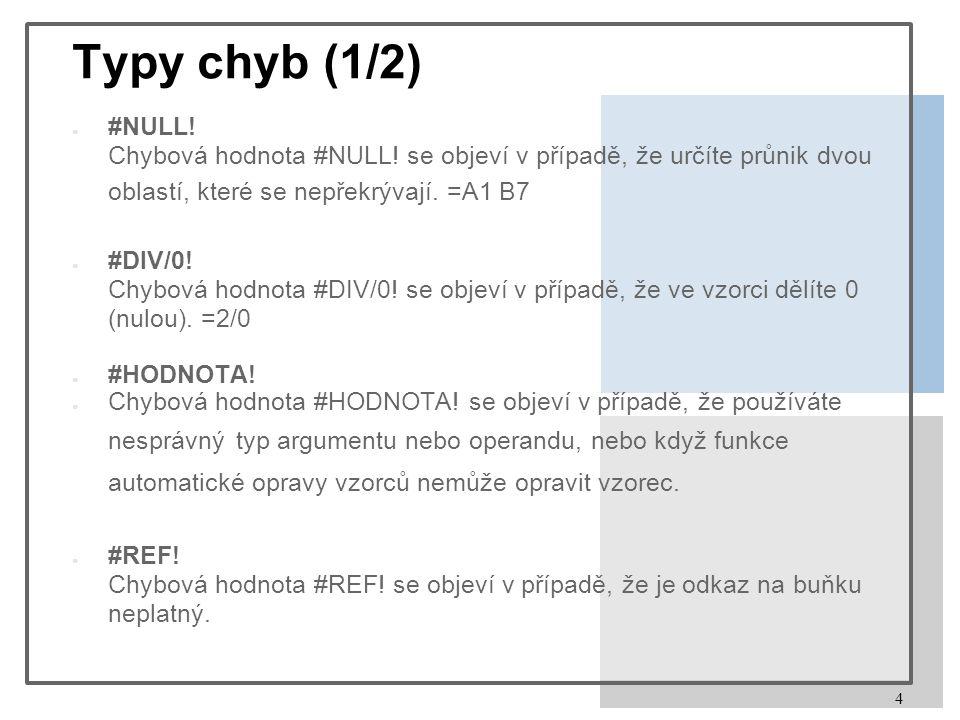 4 Typy chyb (1/2) ● #NULL. Chybová hodnota #NULL.