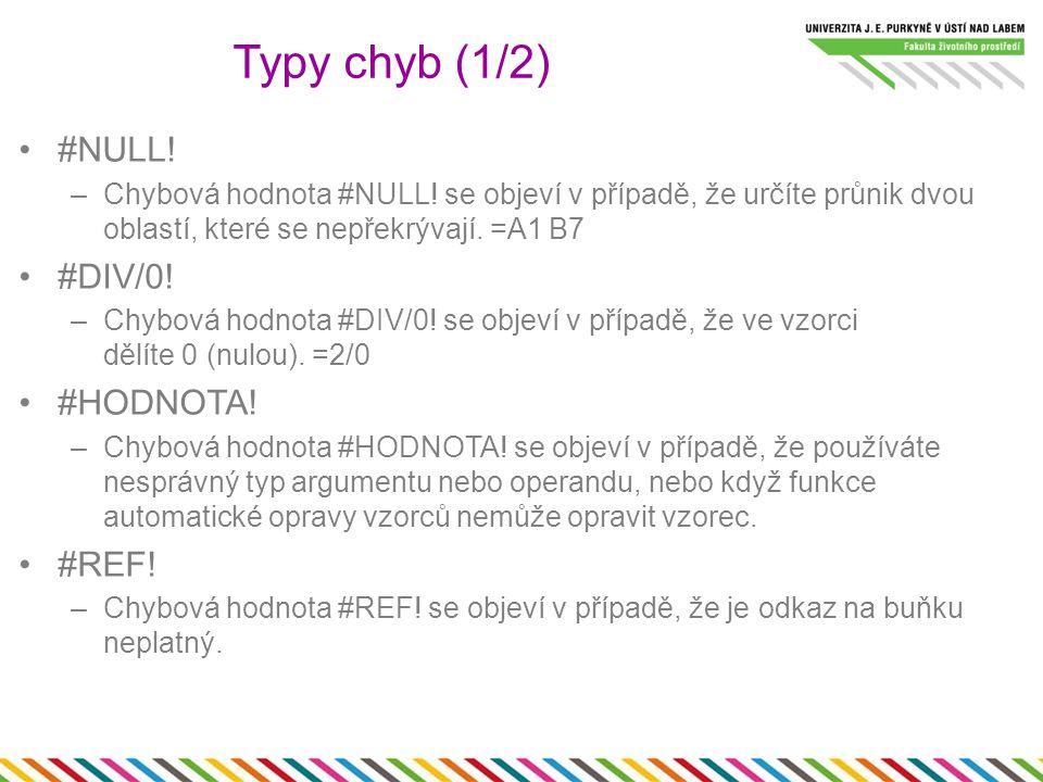 #NÁZEV.–Chybová hodnota #NÁZEV. se objeví v případě, že text ve vzorci není rozpoznán.