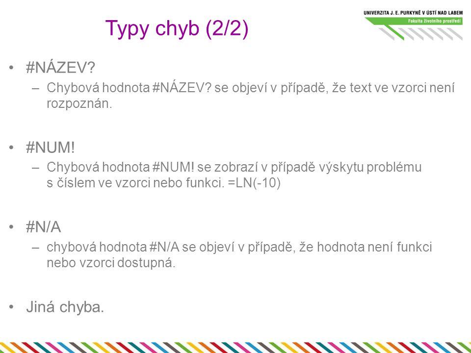 #NÁZEV. –Chybová hodnota #NÁZEV. se objeví v případě, že text ve vzorci není rozpoznán.
