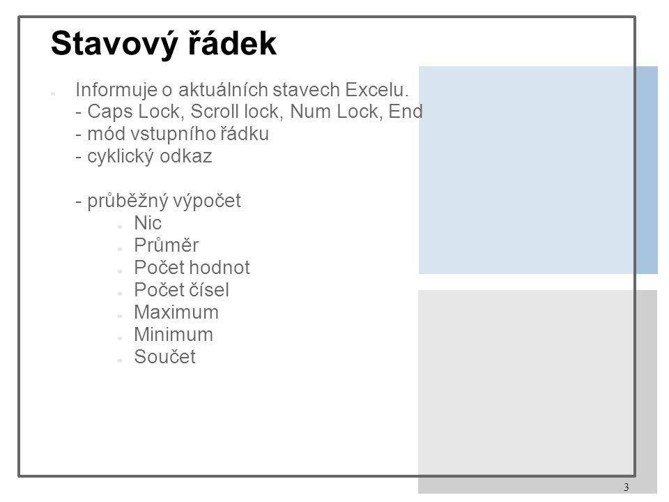3 Stavový řádek ● Informuje o aktuálních stavech Excelu.