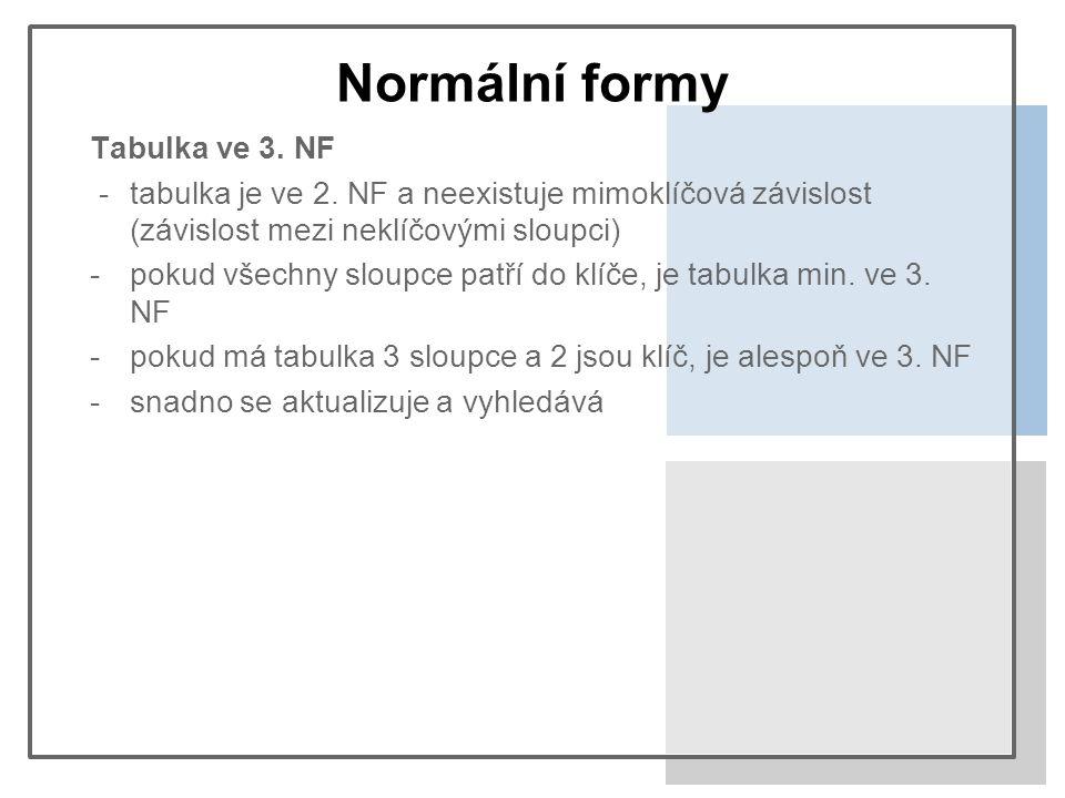 Normální formy Tabulka ve 3. NF -tabulka je ve 2.