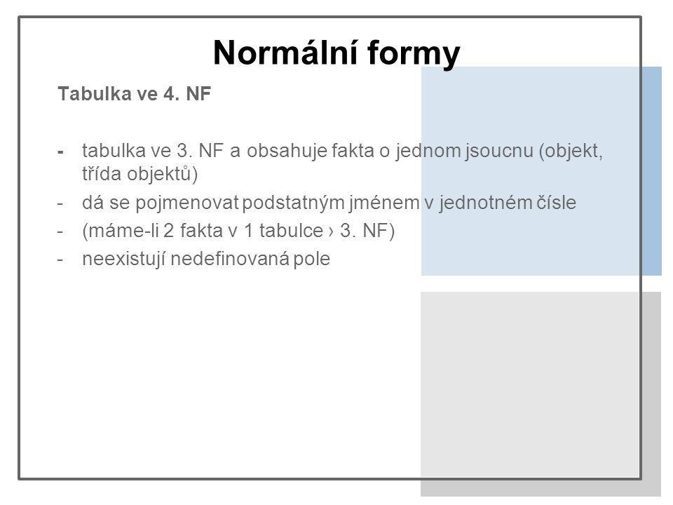 Normální formy Tabulka ve 4. NF -tabulka ve 3.