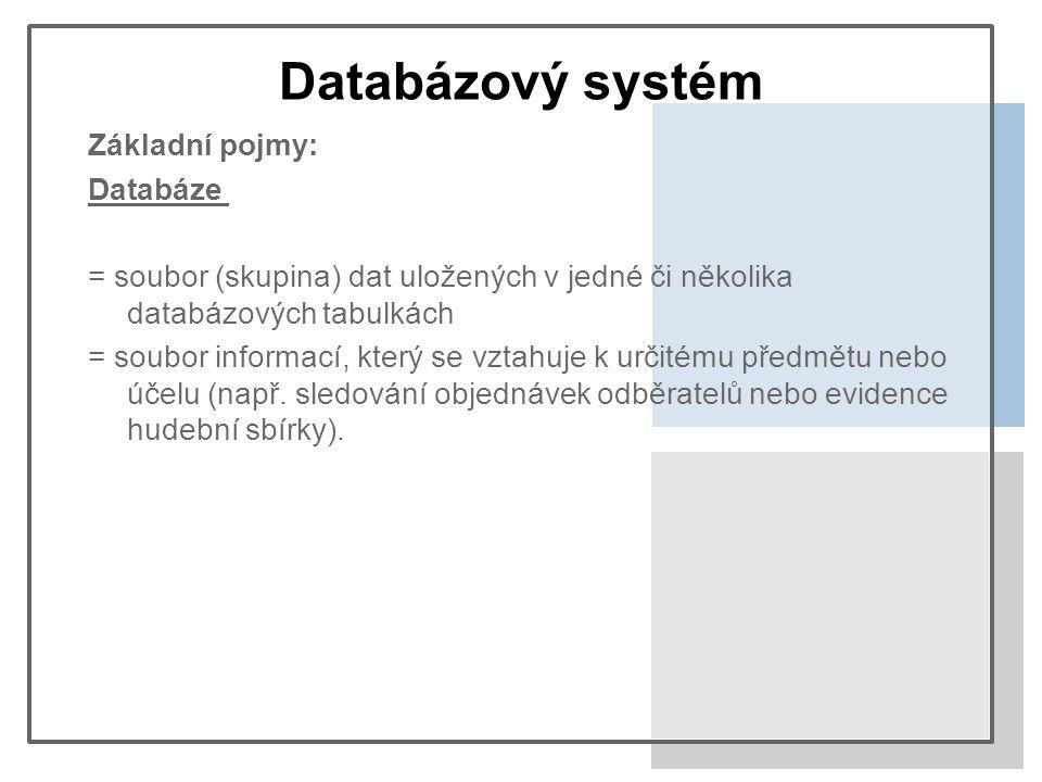 Databázový systém Základní pojmy: Databáze = soubor (skupina) dat uložených v jedné či několika databázových tabulkách = soubor informací, který se vztahuje k určitému předmětu nebo účelu (např.