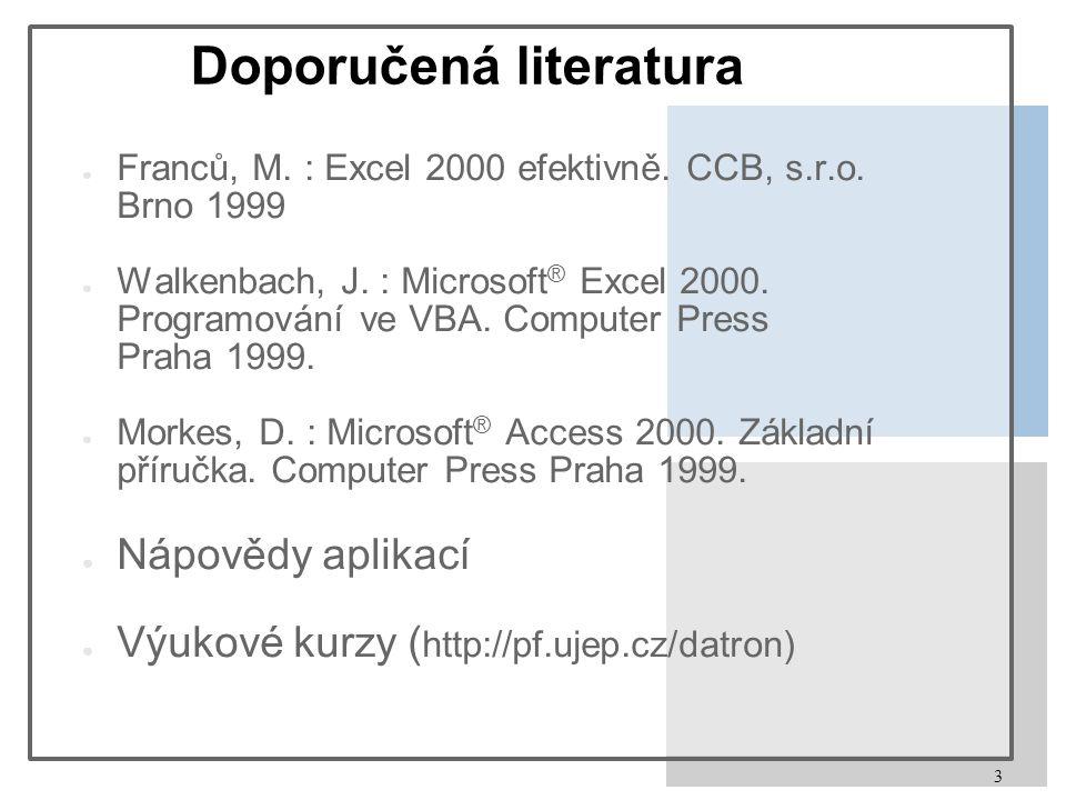 3 Doporučená literatura ● Franců, M. : Excel 2000 efektivně. CCB, s.r.o. Brno 1999 ● Walkenbach, J. : Microsoft ® Excel 2000. Programování ve VBA. Com