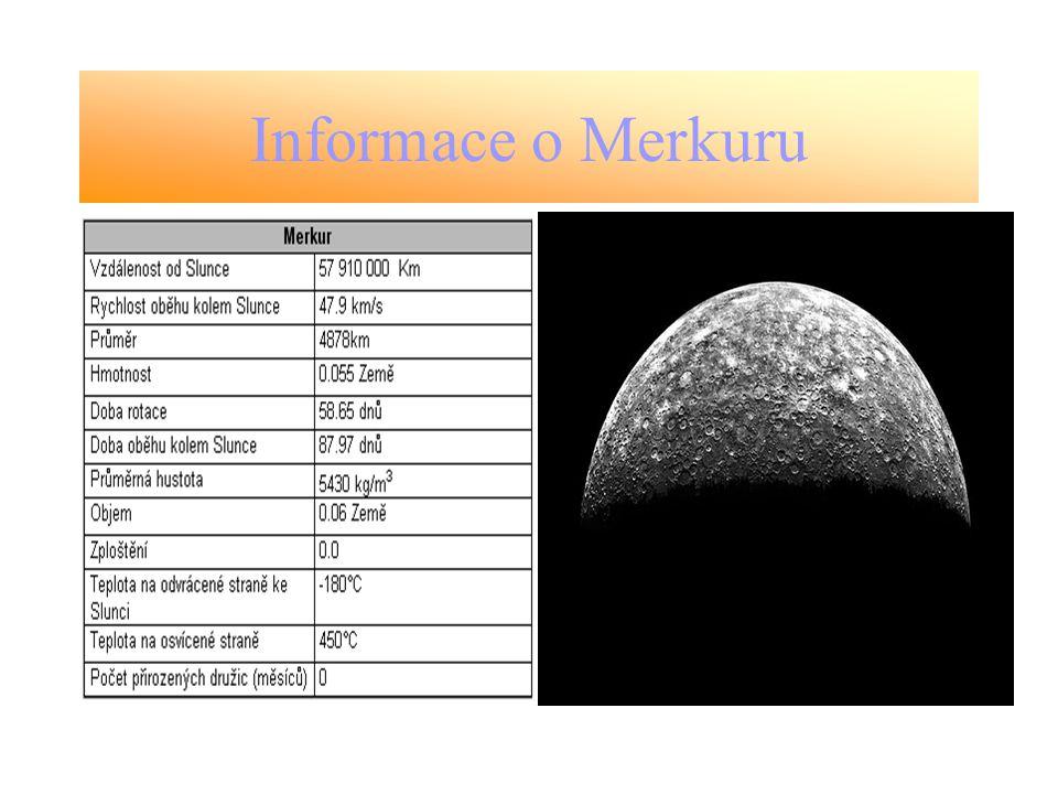 Složení Merkur má mnohem vyšší hustotu než Měsíc (5,34 g.cm -3, Měsíc 3,34 g.cm -3 ).