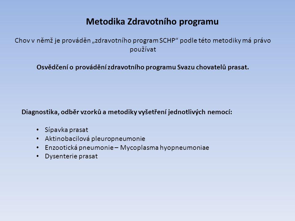"""Chov v němž je prováděn """"zdravotního program SCHP"""" podle této metodiky má právo používat Osvědčení o provádění zdravotního programu Svazu chovatelů pr"""