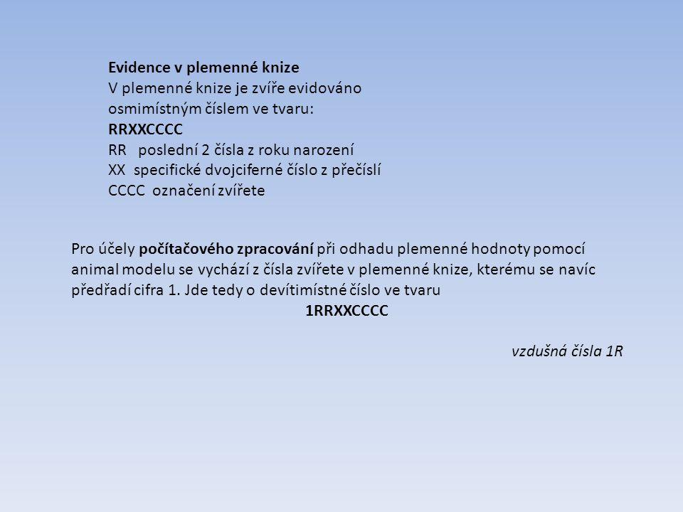 Evidence v plemenné knize V plemenné knize je zvíře evidováno osmimístným číslem ve tvaru: RRXXCCCC RR  poslední 2 čísla z roku narození XX  specifi
