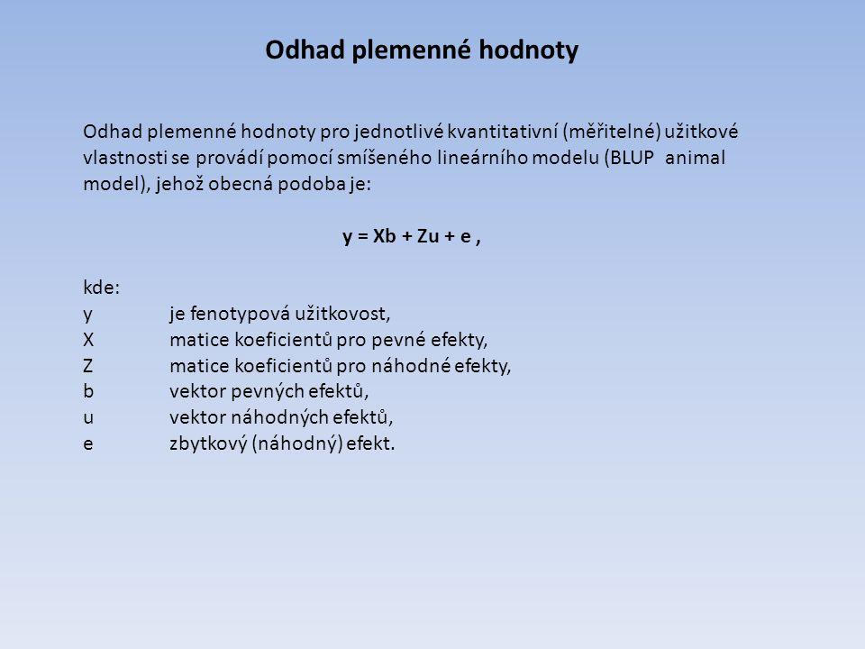 Odhad plemenné hodnoty Odhad plemenné hodnoty pro jednotlivé kvantitativní (měřitelné) užitkové vlastnosti se provádí pomocí smíšeného lineárního mode