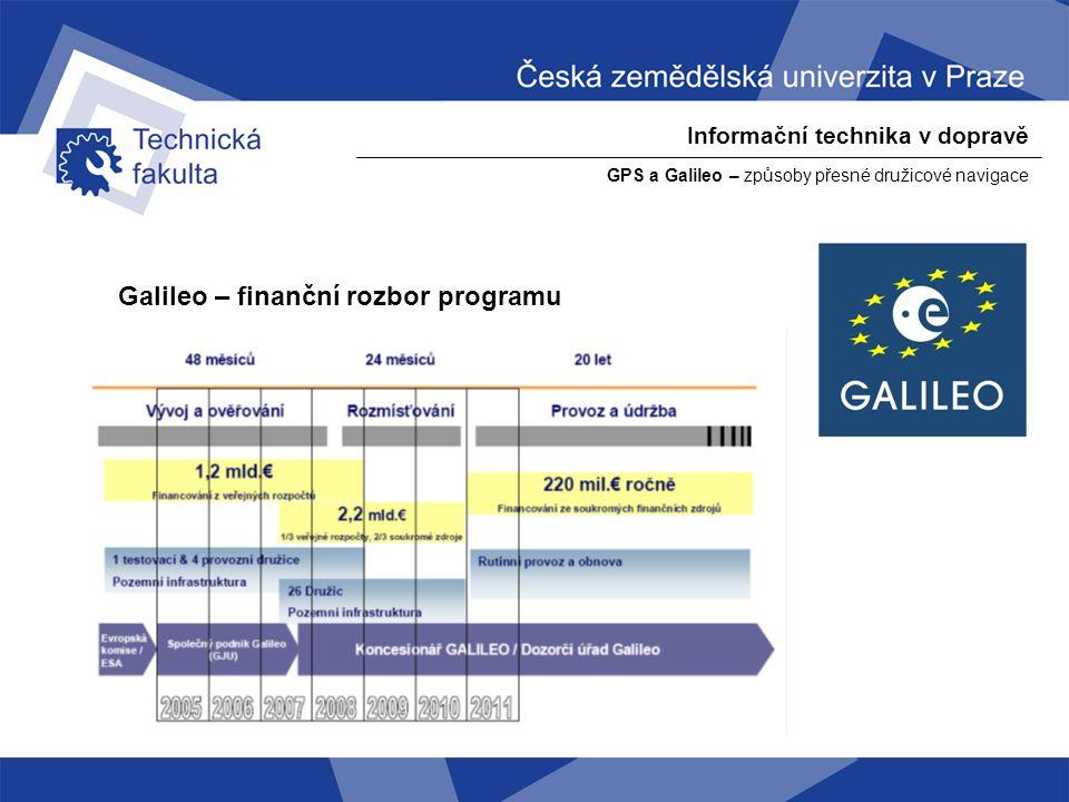 Informační technika v dopravě GPS a Galileo – způsoby přesné družicové navigace Galileo – finanční rozbor programu