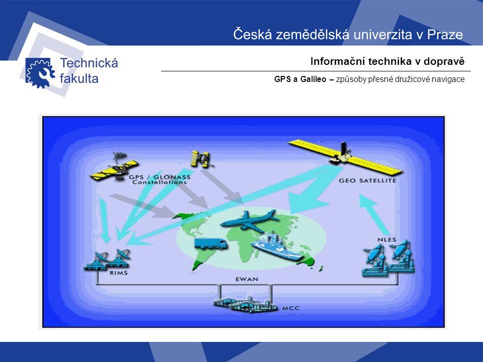 Informační technika v dopravě GPS a Galileo – způsoby přesné družicové navigace GLONASS ( ГЛОНАСС) - ГЛОбальная НАвигационная Спутниковая Система, - Globální navigační družicový systém – ruská obdoba GPS Navstar - Systém začal být vyvíjen koncem 70.