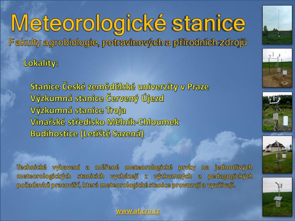 Budihostice (Letiště Sazená) Výzkumná stanice Červený Újezd Výzkumná stanice Troja Stanice ČZU Praha - Suchdol Vinařské středisko Mělník-Chloumek