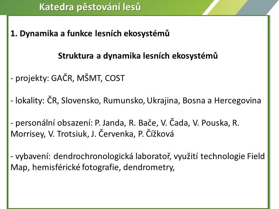 1. Dynamika a funkce lesních ekosystémů Struktura a dynamika lesních ekosystémů - projekty: GAČR, MŠMT, COST - lokality: ČR, Slovensko, Rumunsko, Ukra