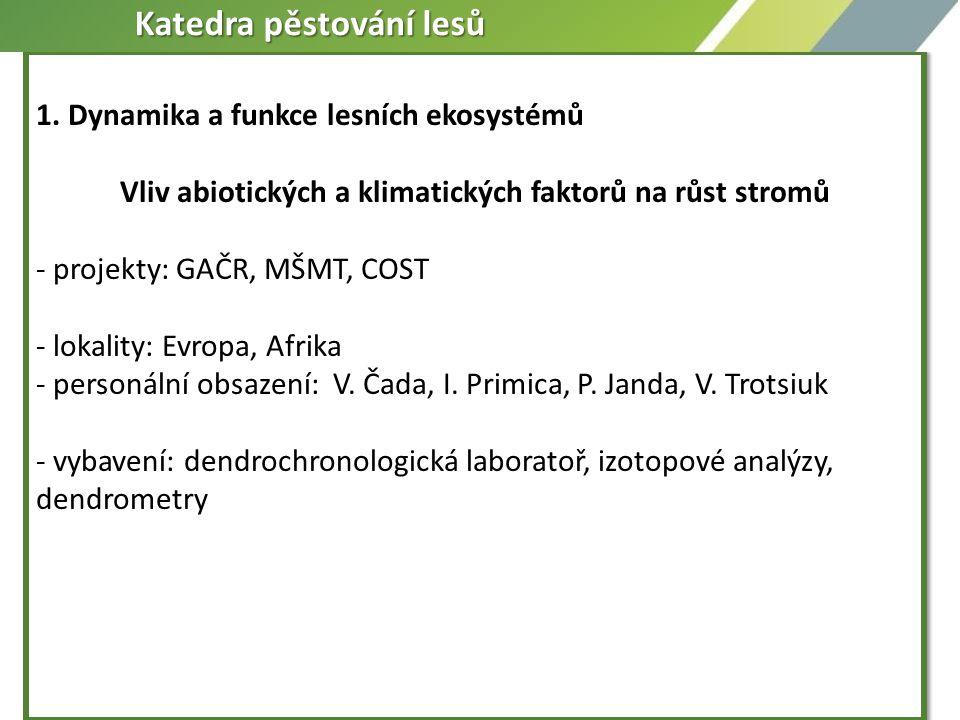 1. Dynamika a funkce lesních ekosystémů Vliv abiotických a klimatických faktorů na růst stromů - projekty: GAČR, MŠMT, COST - lokality: Evropa, Afrika