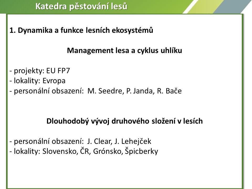 1. Dynamika a funkce lesních ekosystémů Management lesa a cyklus uhlíku - projekty: EU FP7 - lokality: Evropa - personální obsazení: M. Seedre, P. Jan