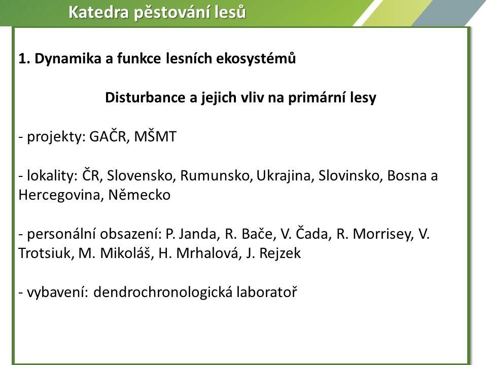1. Dynamika a funkce lesních ekosystémů Disturbance a jejich vliv na primární lesy - projekty: GAČR, MŠMT - lokality: ČR, Slovensko, Rumunsko, Ukrajin