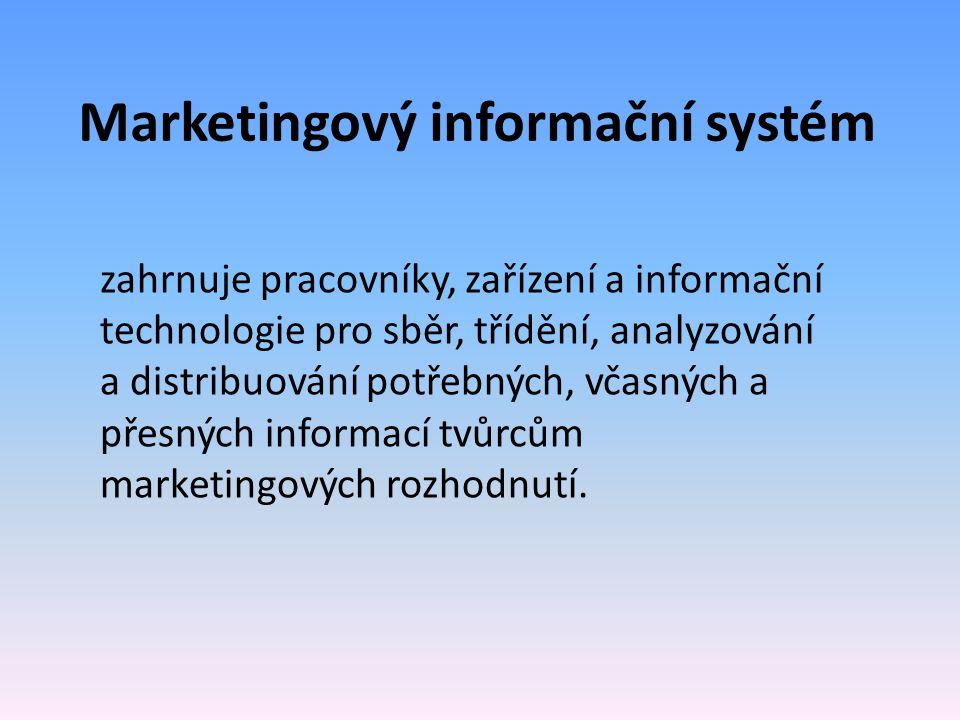 Marketingový informační systém zahrnuje pracovníky, zařízení a informační technologie pro sběr, třídění, analyzování a distribuování potřebných, včasn