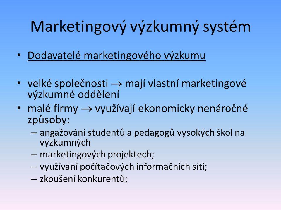 Marketingový výzkumný systém Dodavatelé marketingového výzkumu velké společnosti  mají vlastní marketingové výzkumné oddělení malé firmy  využívají
