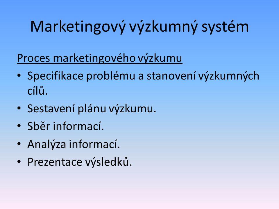 Marketingový výzkumný systém Proces marketingového výzkumu Specifikace problému a stanovení výzkumných cílů. Sestavení plánu výzkumu. Sběr informací.