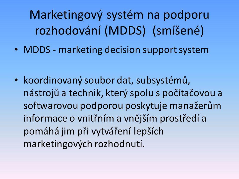 Marketingový systém na podporu rozhodování (MDDS) (smíšené) MDDS - marketing decision support system koordinovaný soubor dat, subsystémů, nástrojů a t