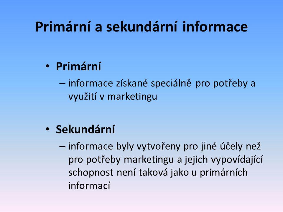 Primární a sekundární informace Primární – informace získané speciálně pro potřeby a využití v marketingu Sekundární – informace byly vytvořeny pro ji