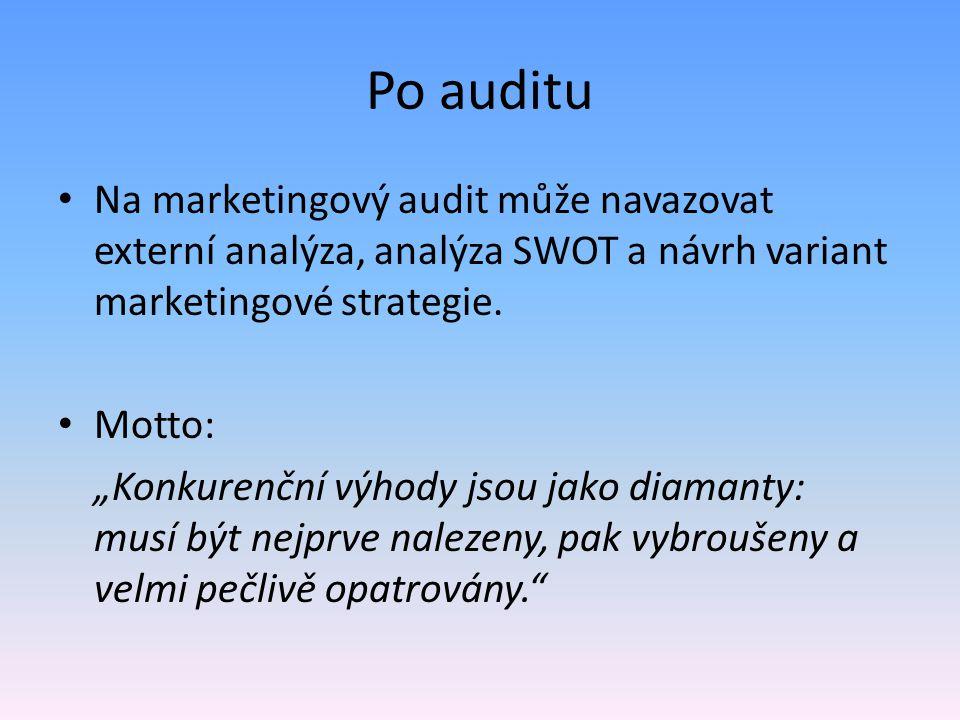 """Po auditu Na marketingový audit může navazovat externí analýza, analýza SWOT a návrh variant marketingové strategie. Motto: """"Konkurenční výhody jsou j"""