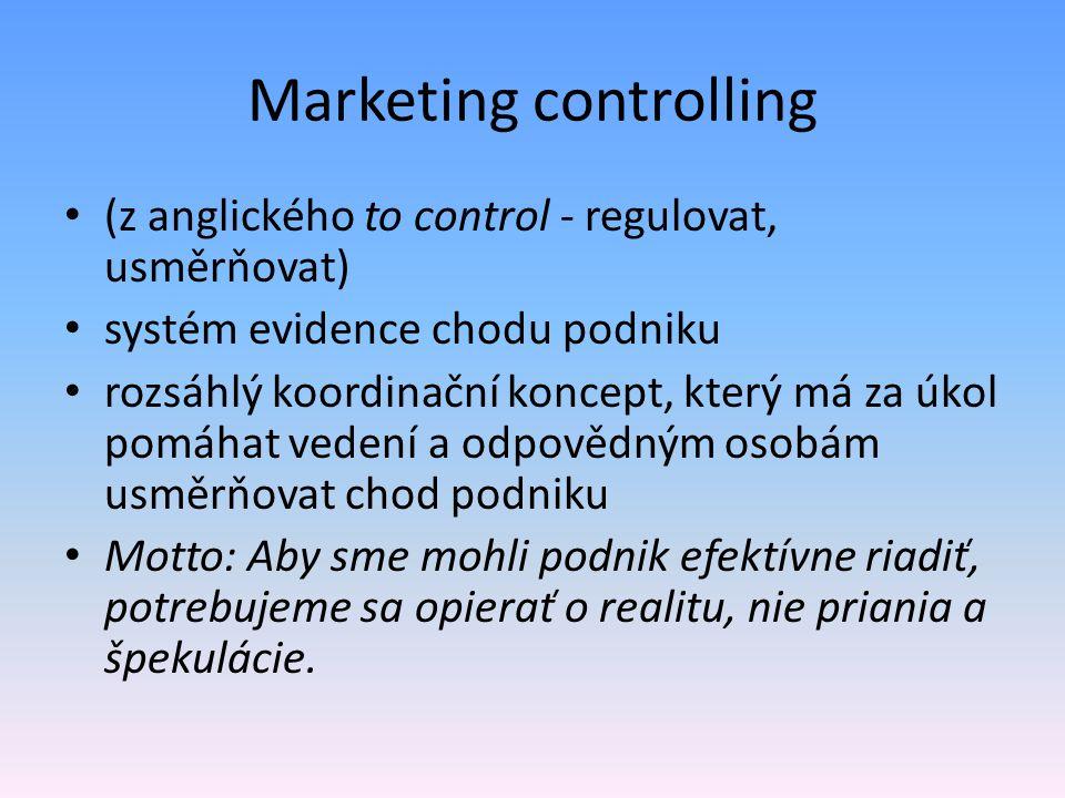 Marketing controlling (z anglického to control - regulovat, usměrňovat) systém evidence chodu podniku rozsáhlý koordinační koncept, který má za úkol p