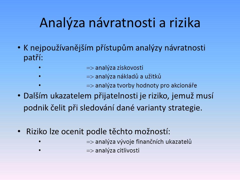 Analýza návratnosti a rizika K nejpoužívanějším přístupům analýzy návratnosti patří:  analýza ziskovosti  analýza nákladů a užitků  analýza tvor