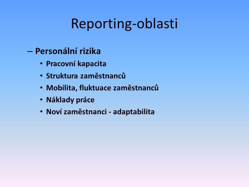 Reporting-oblasti – Personální rizika Pracovní kapacita Struktura zaměstnanců Mobilita, fluktuace zaměstnanců Náklady práce Noví zaměstnanci - adaptab