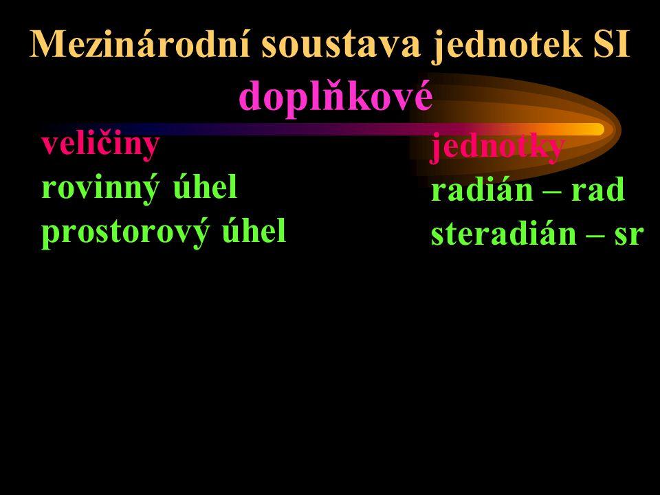 Mezinárodní soustava jednotek SI doplňkové veličiny rovinný úhel prostorový úhel jednotky radián – rad steradián – sr