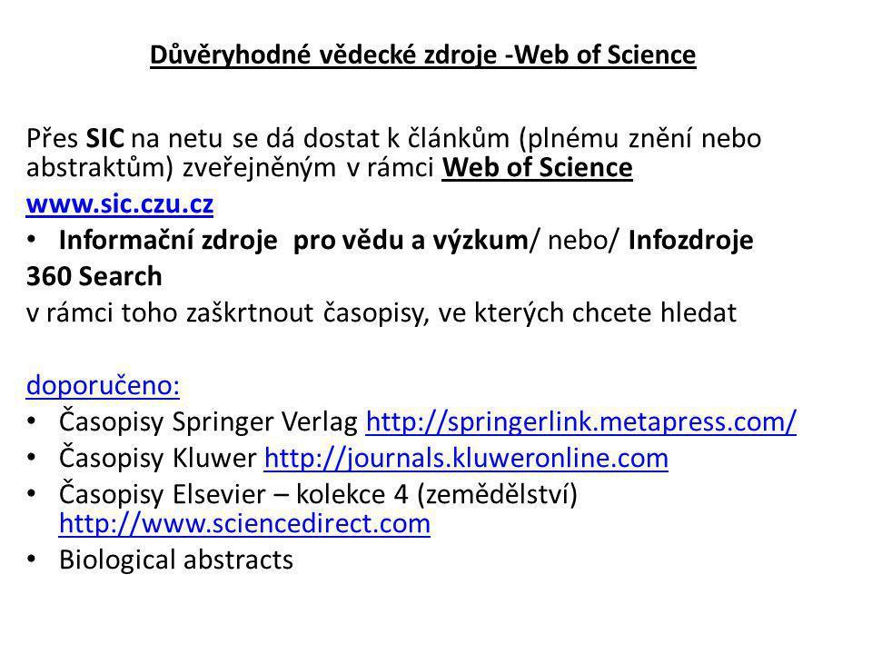 Přes SIC na netu se dá dostat k článkům (plnému znění nebo abstraktům) zveřejněným v rámci Web of Science www.sic.czu.cz Informační zdroje pro vědu a