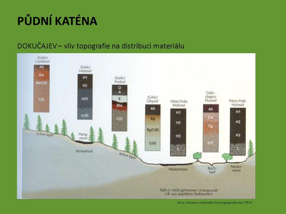 PŮDNÍ KATÉNA DOKUČAJEV – vliv topografie na distribuci materiálu Zdroj: převzato z přednášek Fyzická geografie Asie, Přf UK