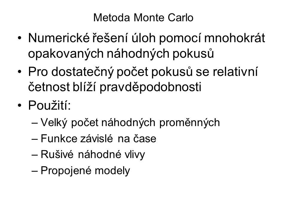 Metoda Monte Carlo Numerické řešení úloh pomocí mnohokrát opakovaných náhodných pokusů Pro dostatečný počet pokusů se relativní četnost blíží pravděpo