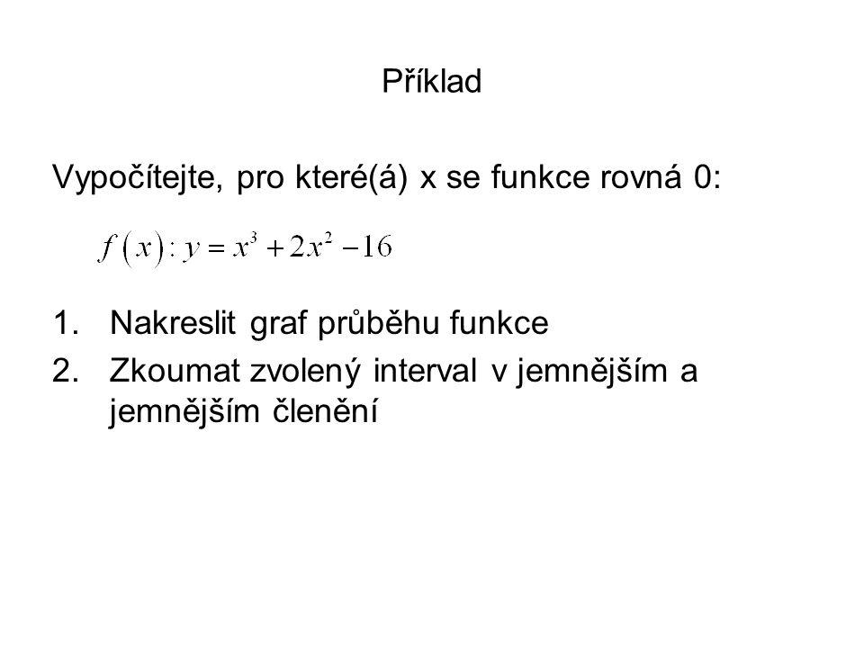 Příklad Vypočítejte, pro které(á) x se funkce rovná 0: 1.Nakreslit graf průběhu funkce 2.Zkoumat zvolený interval v jemnějším a jemnějším členění
