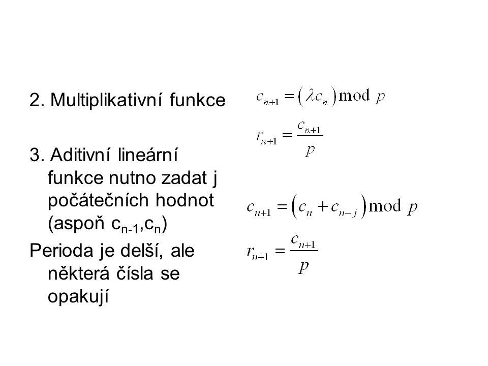 2. Multiplikativní funkce 3. Aditivní lineární funkce nutno zadat j počátečních hodnot (aspoň c n-1,c n ) Perioda je delší, ale některá čísla se opaku