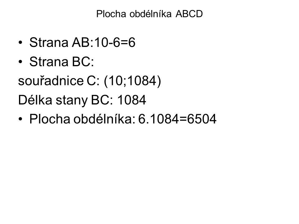 Plocha obdélníka ABCD Strana AB:10-6=6 Strana BC: souřadnice C: (10;1084) Délka stany BC: 1084 Plocha obdélníka: 6.1084=6504