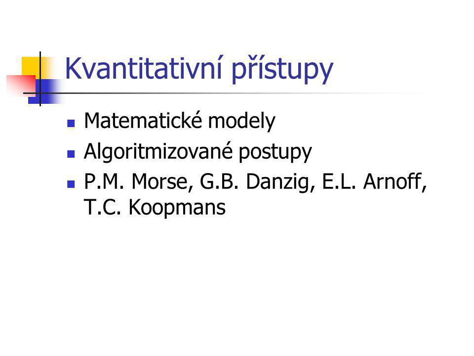 Kvantitativní přístupy Matematické modely Algoritmizované postupy P.M.